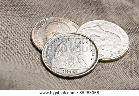 Silver Coins On Sack
