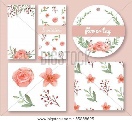 Flowers And Leaves Design Set