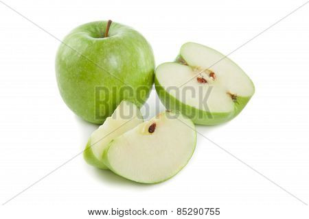 Picture Of Sliced Green Apples On The White Background