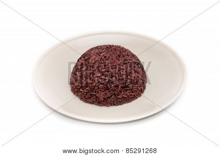 Rice Berry In Plate On White Background