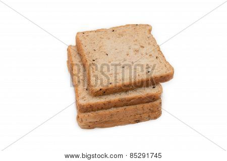 Slice Whole Wheat Bread Isolated On White Background