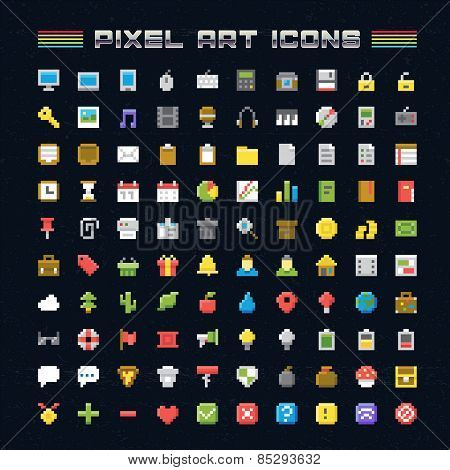 Vector Pixel Art Icons. Oldschool video game pixel style icons for any web or mobile applications and presentation poster