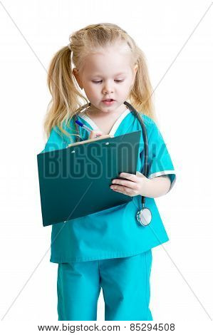 Adorable child uniformed as doctor
