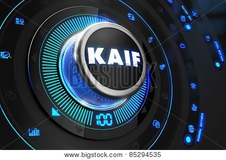 Kaif Button with Glowing Blue Lights.