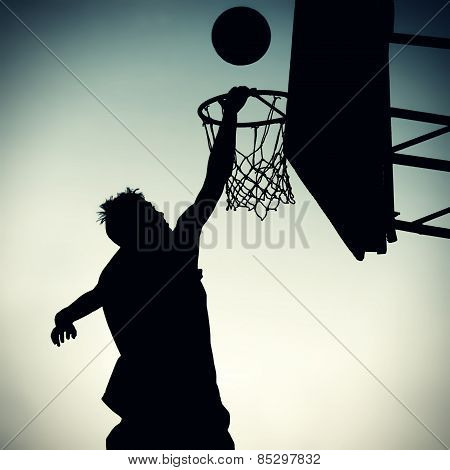 Silhouette Of A Basketbal Player