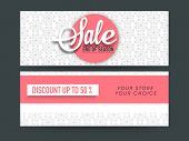 Beautiful floral design decorated Sale website header or banner set with 50% discount offer. poster