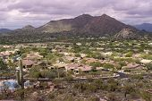 High viewpoint of Arizona north Scottsdale,Cavecreek community with Mountain in background. poster