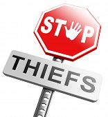 catch thieves stop theft no robbery or pick pocket thief arrest by police investigation or neighborhood watch prevention poster