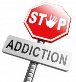 stop addiction drug and alcohol prevention rahabilitation warning sign poster