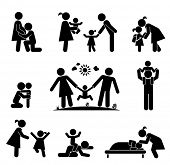 Children and their parents. Pictogram presenting parental love and care for children. Expecting baby, playing with children, hugging, preparing for school, putting children to bed. poster
