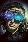 Portrait of a man steampunk in his research laboratory. Fantasy. poster