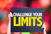Challenge Your Limits card with bokeh background poster