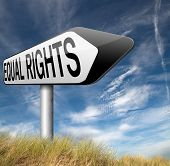 equal rights no discrimination and same opportunities for all women man equality road sign poster