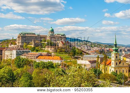 Buda Castle in Budapest, Hungary. View from Gellert Hill. Beautiful landscape with castle in cityscape of Budapest viewed through greenery of park. poster