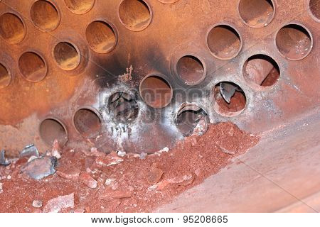 An industrial steam boiler having leaking tubes replaced