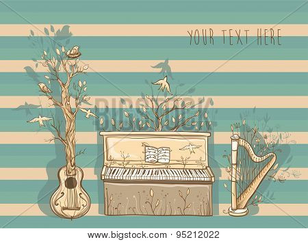 Vector Illustration Of Live Music With Guitar, Piano, Harp.