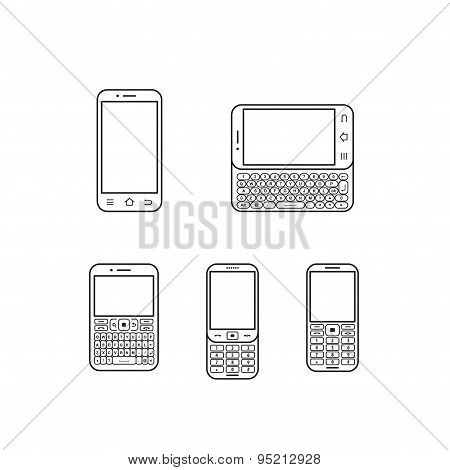 Mobile Phone Set. Touchscreen And Slider.