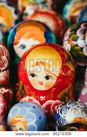 Colorful Russian Nesting Dolls Matrioshka At Market