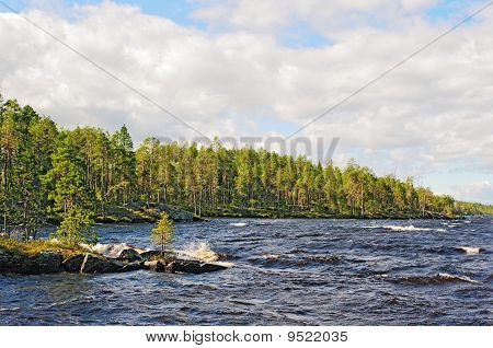 The Strong Wind  On Northern Lake