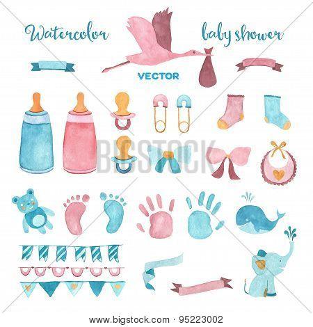 Watercolor vector baby shower set