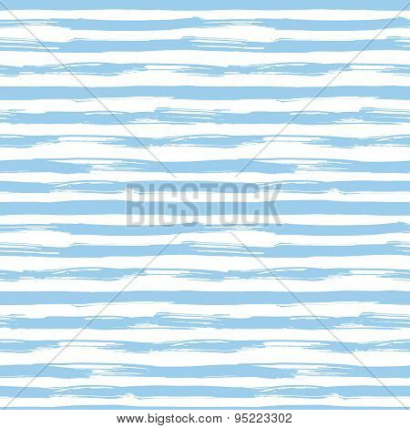 Vector seamless pattern with blue brush strokes. Striped background inspired by navy uniform