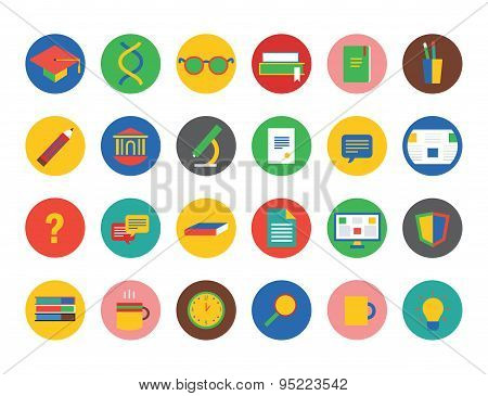 Education vector icons set. Education, students or school and college symbol. Stock design elements.
