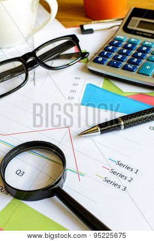 Desk office business financial accounting calculate Graph analysis poster