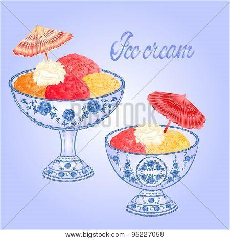 Ice Cream Sundaes Vector