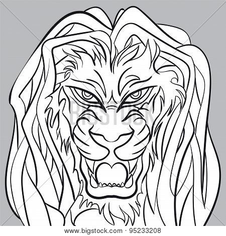 Angry lion head - editable vector graphic