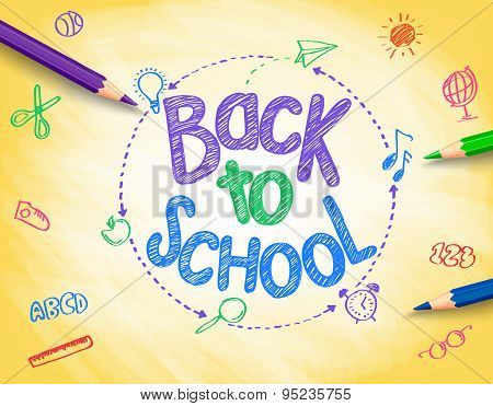 Back to School Title Written by a Colorful Pencils or Crayons