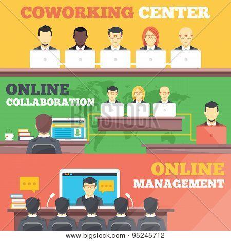 Coworking center, online collaboration, online management flat illustration concepts set