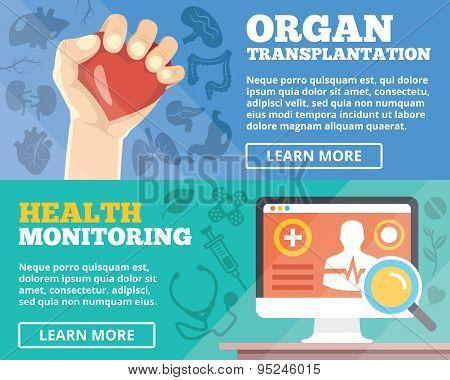 Organ transplantation and health monitoring flat illustration concepts set