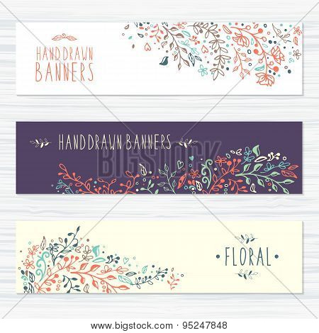 Vintage cards with flower patterns and floral ornaments