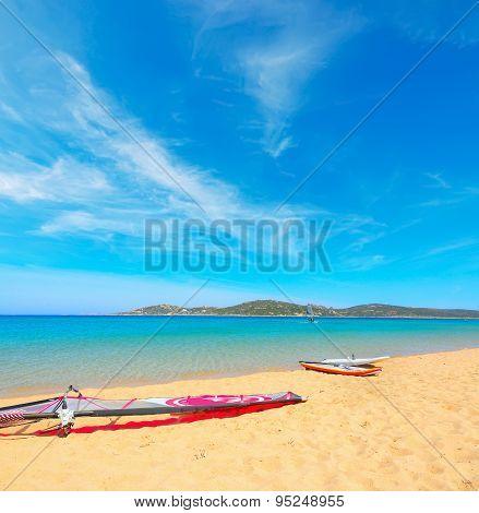 Windsurf Boards In Porto Pollo Beach