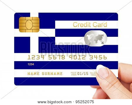 Hand Holding Greek Credit Card Isolated Over White