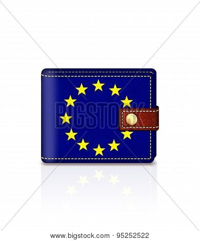 Wallet With European Union Flag Isolated Over White