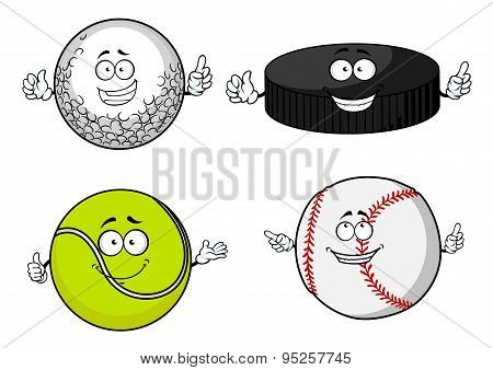 Golf, tennis, baseball balls and hockey puck