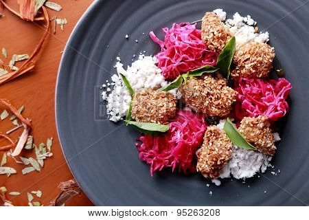 Spanish Tapas Crispy Fried Chicken Served With Closeslaw And Sesame Dust