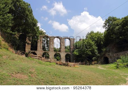 Ancient Roman Aqueduct In Monterano