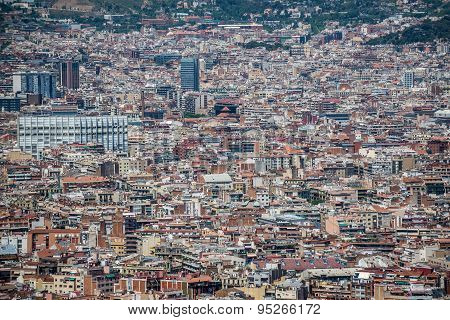 Aerial view from Castell de Montjuic on Montjuic hill in Barcelona Spain poster