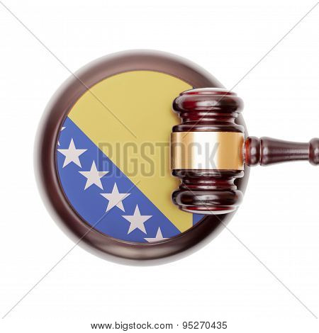 Wooden judge gavel with national flag on sound block series - Bosnia and Herzegovina poster