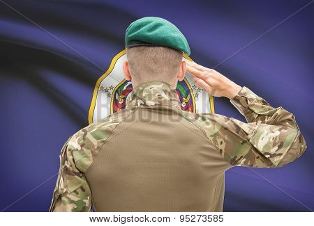 Soldier Saluting To Usa State Flag Conceptual Series - Minnesota
