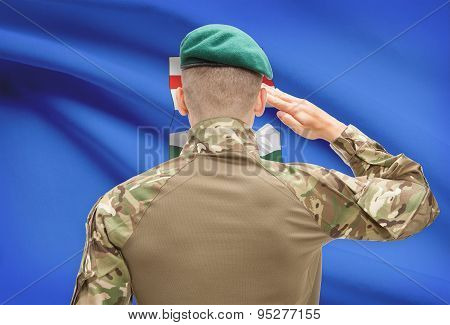 Soldier Saluting To Canadial Province Flag Conceptual Series - Alberta