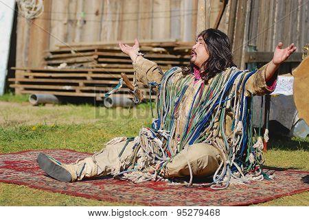 Mongolian shaman performs a ritual in Ulaabaatar, Mongolia.
