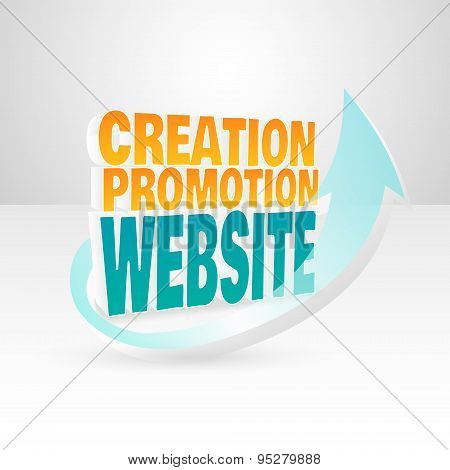 3d vector words website creation promotion.