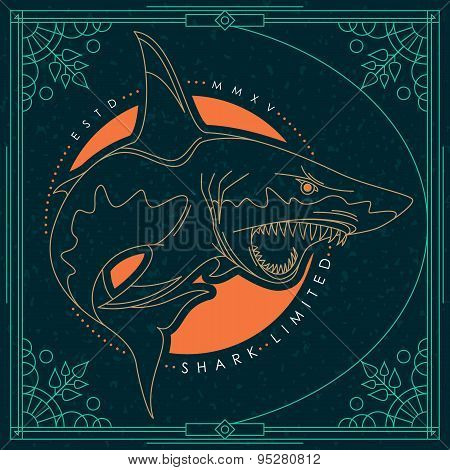 Vintage Thin Line Fish Label