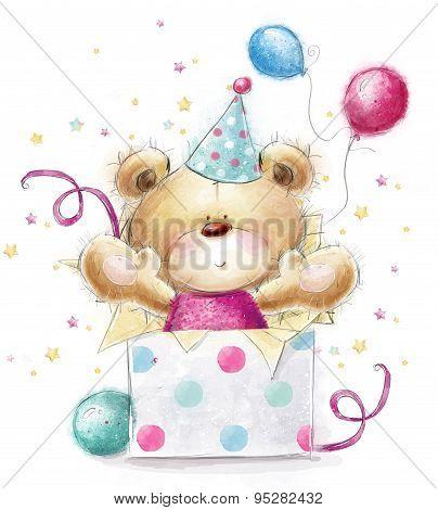 Teddy bear with the gift. Happy Birthday card
