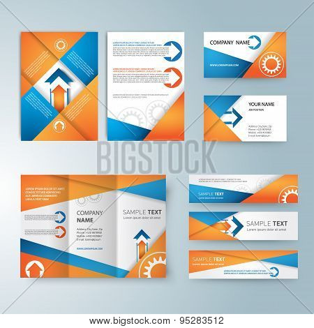 Corporate identity templates, With blank, name card, folded paper,  banners for site, brochure.