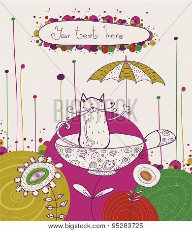 Tea time template design.Vector illustration. Bright summer outlines made from tea things.