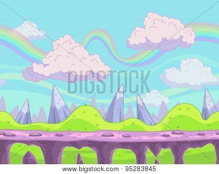 Seamless Vector Cartoon Landscape